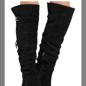 Sam Edelman Black Sable Over The Knee Boots 5.5